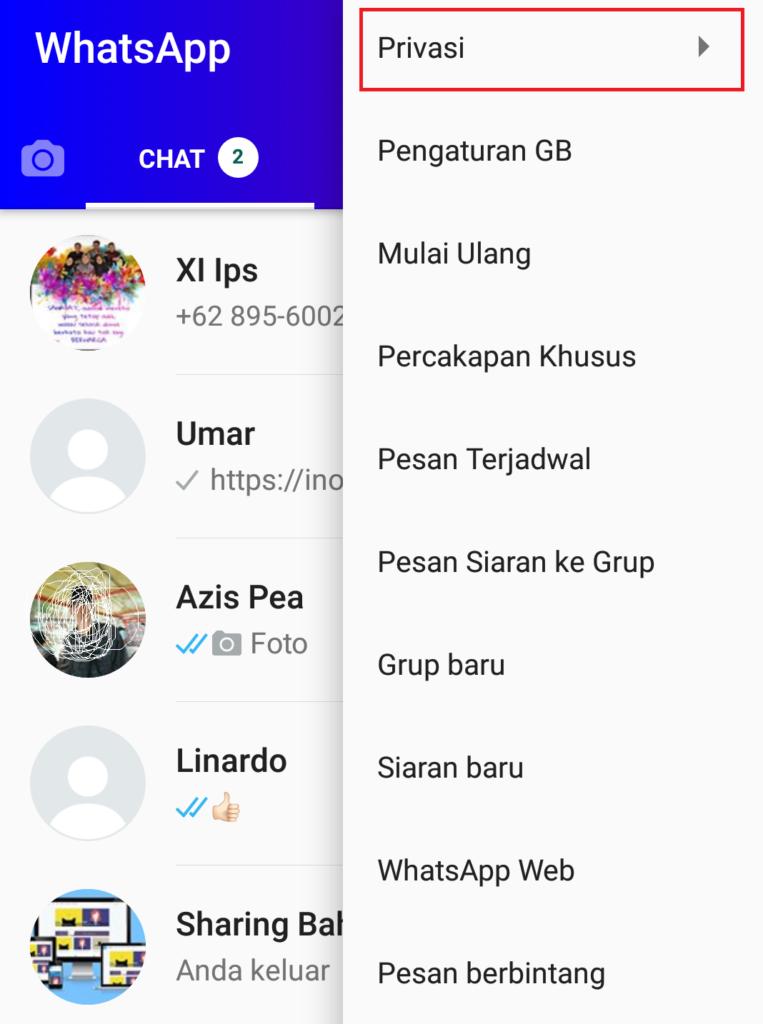 menghilangkan centang biru whatsapp